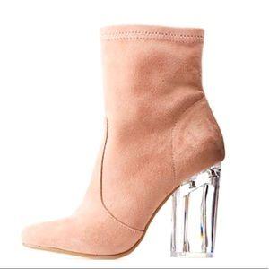 Lucite clear heel booties